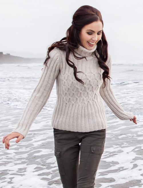 Wool Cashmere Polo Neck Sweater with Criss Cross Pattern