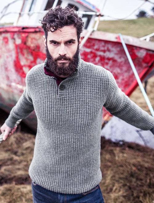 Ribbed Fisherman Sweater With Button Collar - Grey