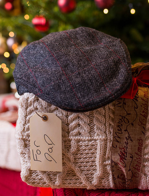 Trinity Tweed Flat Cap - Charcoal with Red