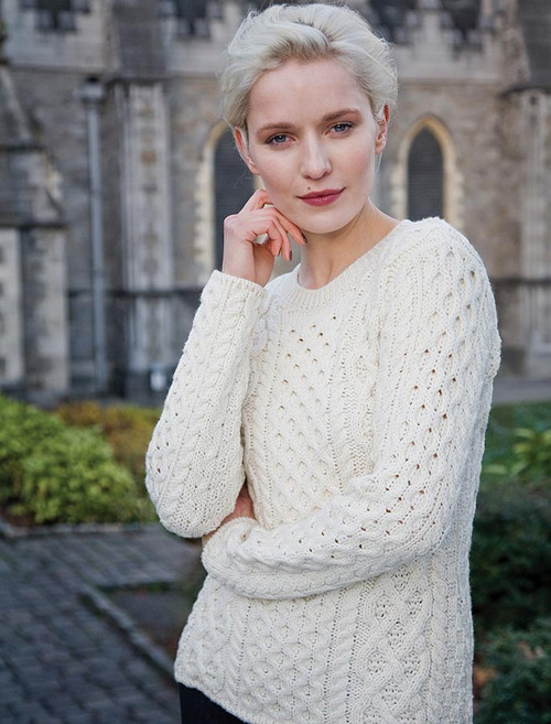 Women's Fisherman Sweater - Aran Sweater - White