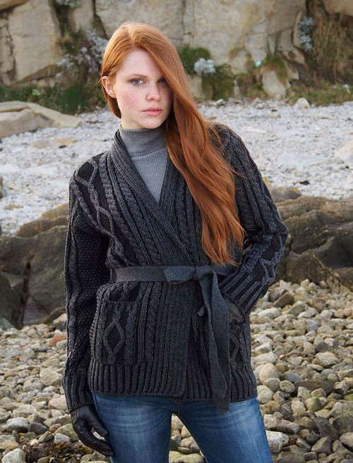 Two Tone Belted Aran Cardigan