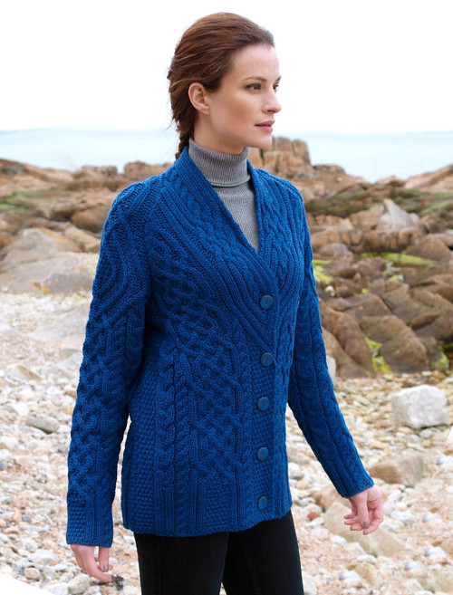 V-Neck Aran Cabled Cardigan - Petrol