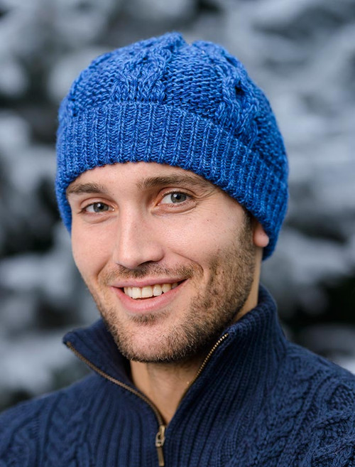 Merino Honeycomb Hat - Blue Marl