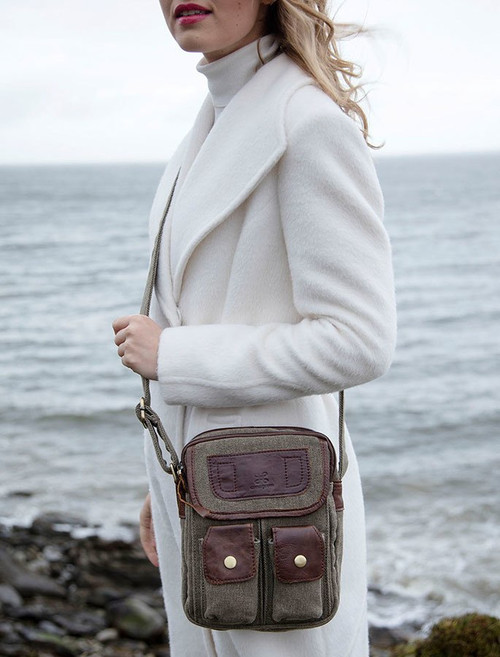 Traditional Tweed & Leather Double Pocket Bag