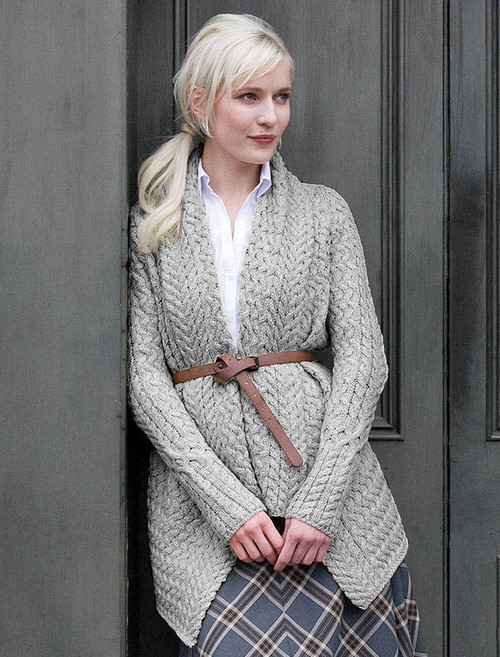 Waterfall Cable Cardigan - Oatmeal