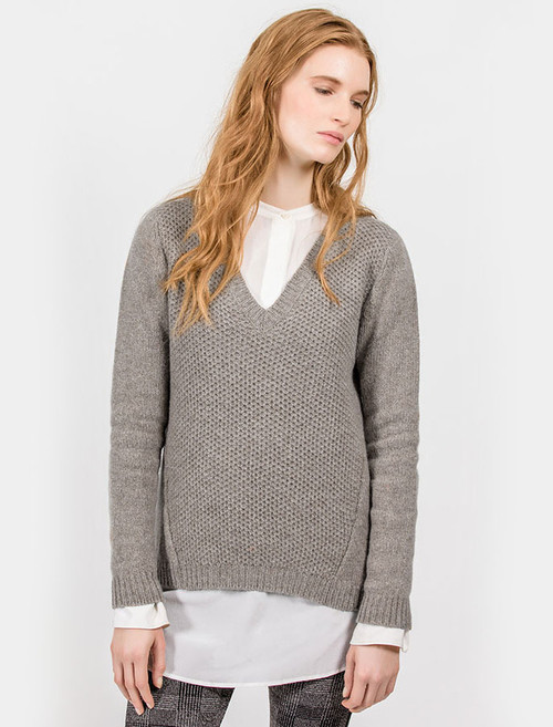 Wool Alpaca V-Neck Sweater - Mink