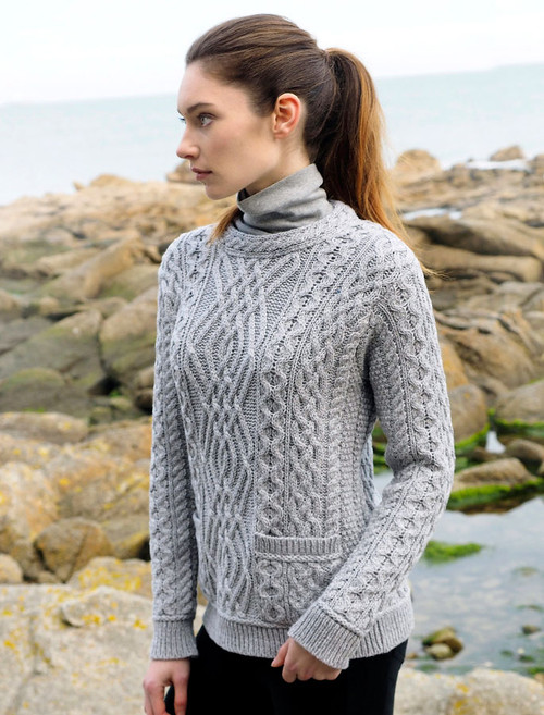 Cable Crew Neck Sweater with Pockets - Soft Grey