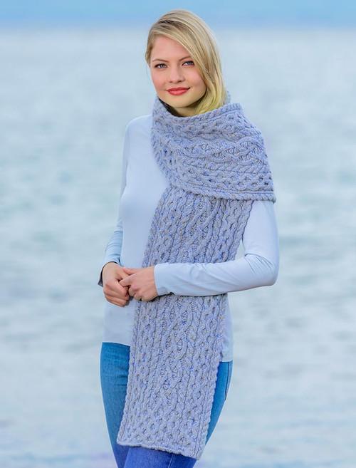 Women's Wool Cashmere Aran Honeycomb Scarf - Sky
