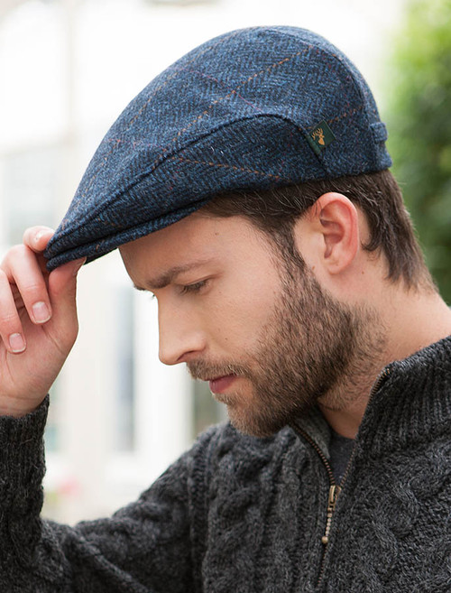 Trinity Tweed Flat Cap - Denim
