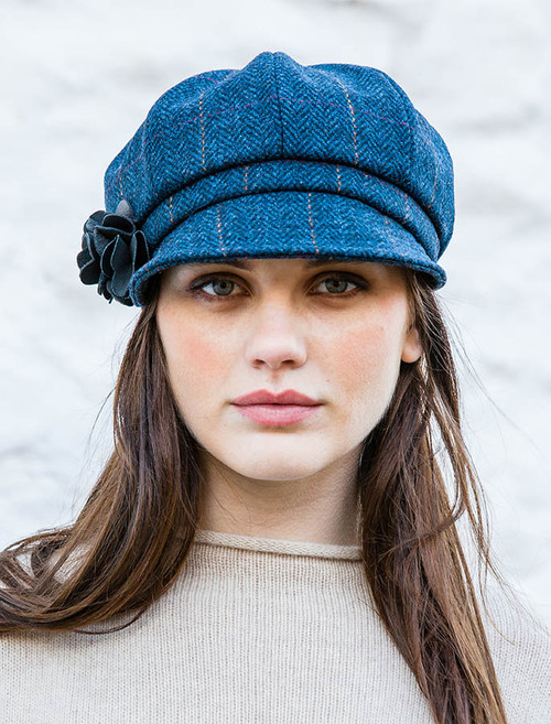 Ladies Tweed Newsboy Hat - Denim