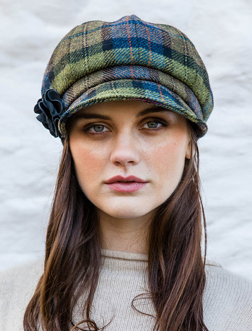 Ladies Tweed Newsboy Hat - Green Plaid