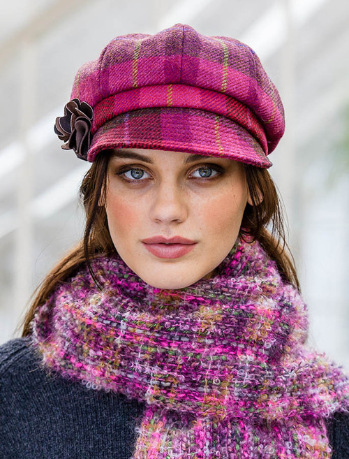 Ladies Tweed Newsboy Hat - Pink Plaid