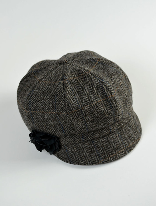 Ladies Newsboy Hat - Grey with Tan