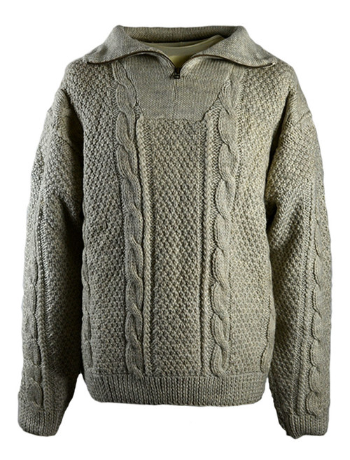 Premium Handknit Zip Neck Sweater - Oatmeal