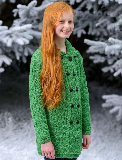 Kid's Double Breasted Aran Merino Cardigan - Green Marl
