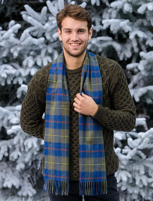 Narrow Lambswool Checked Scarf - Blue Olive Plaid