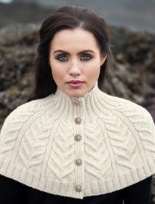 Premium Handknit Capelet with Buttons - White