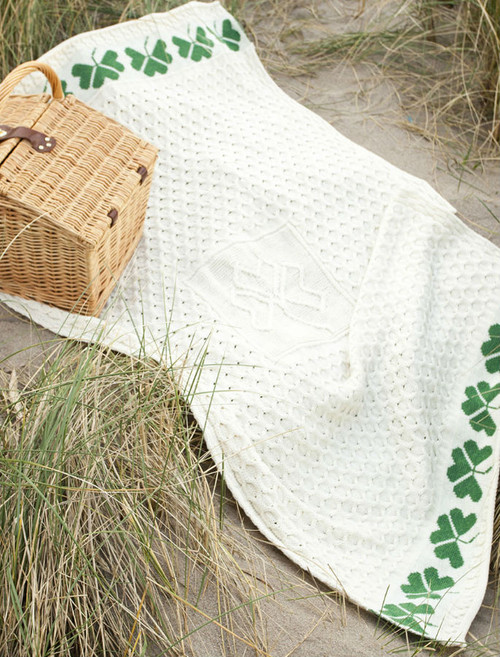Medium Merino Shamrock Throw - White