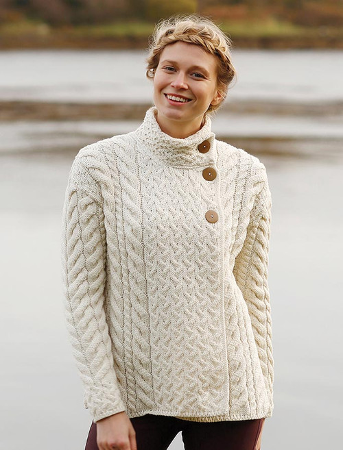 Super Soft Trellis and Cable Cardigan - Classic Aran
