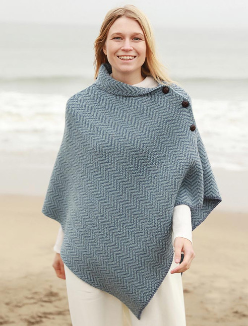 Herringbone Merino Poncho with Button Detail - Denim/Mist