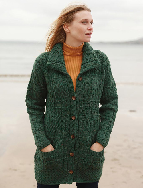 Button-Down Patchwork Cardigan - Connemara