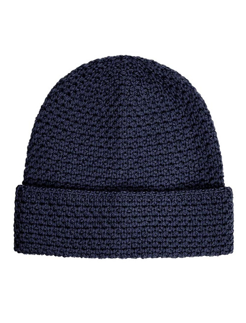 Textured Merino Hat - Navy