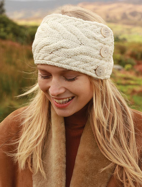 Super Soft Cable Stitch Headband - Classic Aran