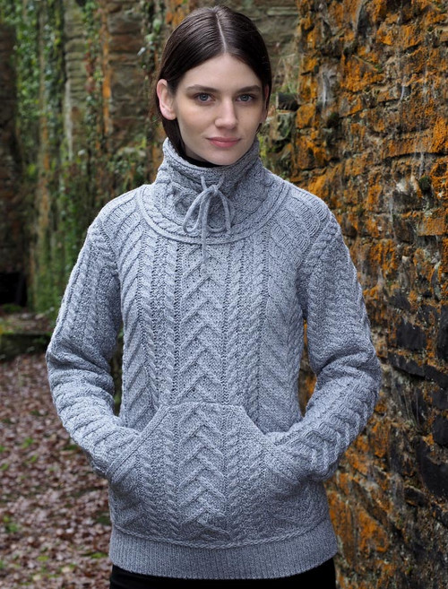 Super Soft Aran Cowl Neck Sweater - Soft Grey