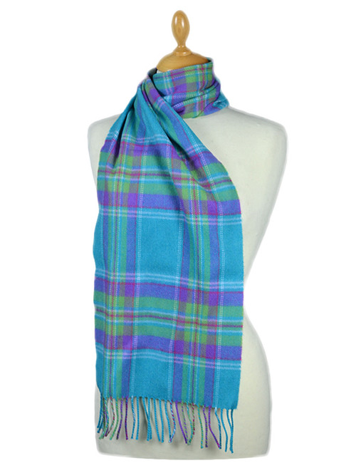 Fine Merino Plaid Scarf - Turquoise Purple Green