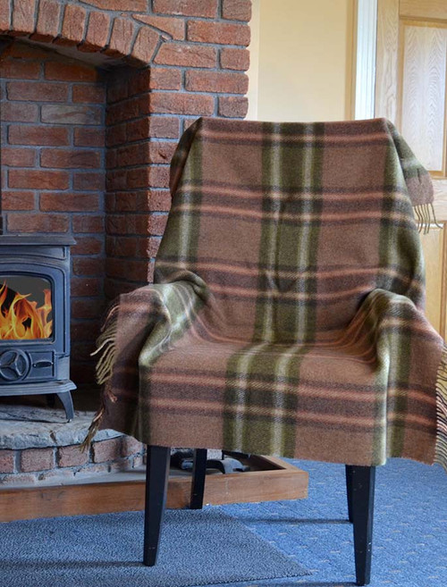 Plaid Wool Throw - Olive Rust