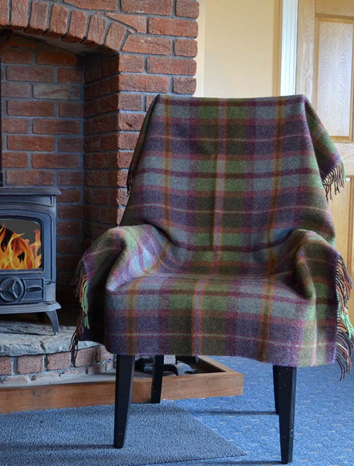 Plaid Wool Throw - Green Rust Grey