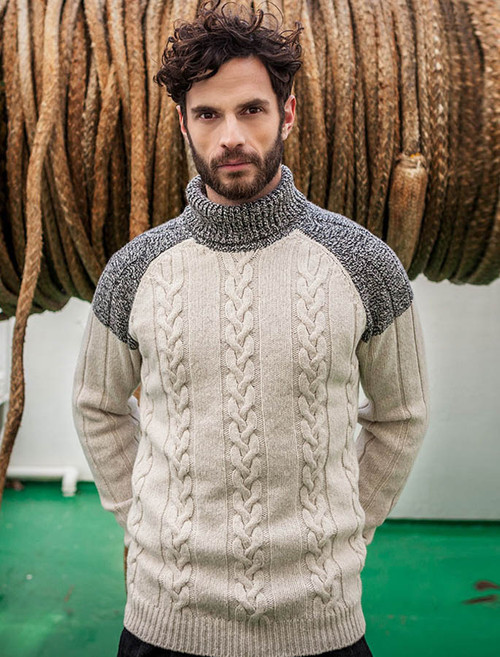 Raglan Polo Neck with Cable and Rib Stitch