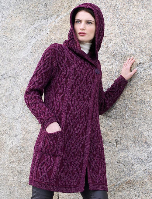 Plaited One Button Coat with Hood - Wine