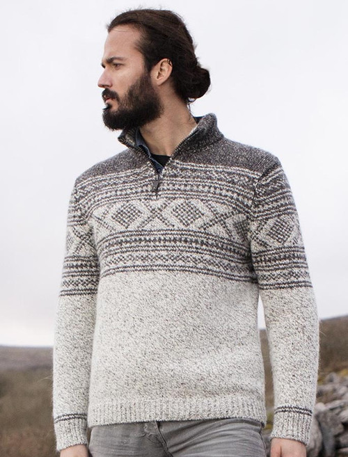 Mens Zip Neck with Jacquard Pattern - Marble