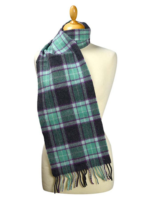 Narrow Lambswool Plaid Scarf - Seafoam Black Purple