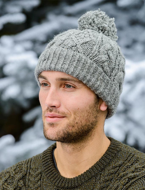 Aran Fleece Lined Rib Cap with Bobble - Grey
