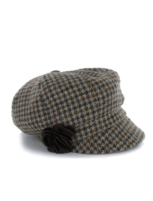 Ladies Newsboy Hat - Beige Check