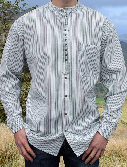 Grandfather Shirt - Blue & Green Pin Stripe