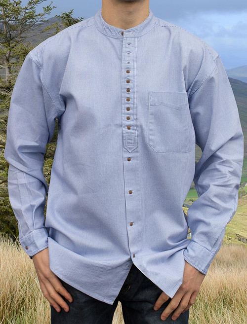 Grandfather Shirt - Blue Pin Stripe