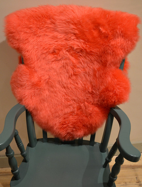 Deep Pile Sheepskin Rug - Orange