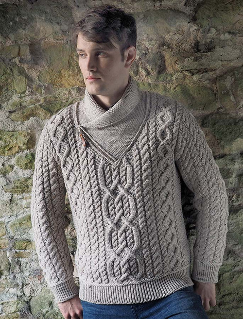 Aran Zip Shawl Neck Sweater - Oatmeal