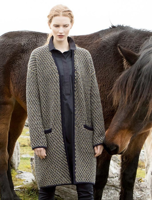 Wool Cashmere Chunky Open Cardigan - Navy Pebble