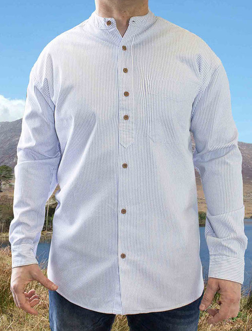 Heavyweight Grandfather Shirt - Blue Pin Stripe