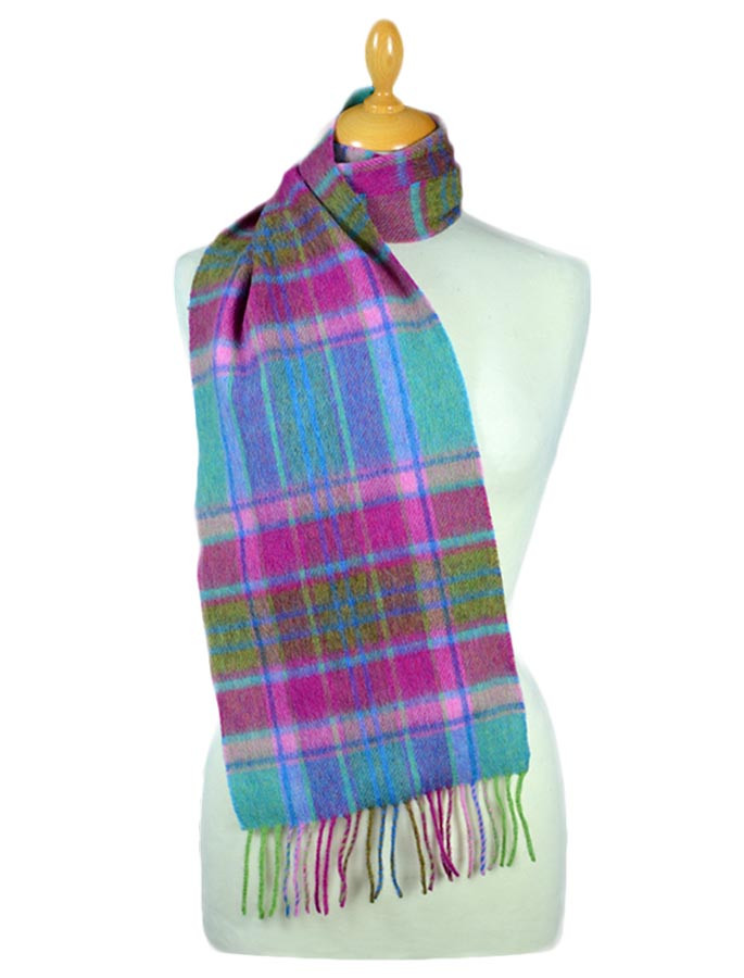 Narrow Lambswool Plaid Scarf - Turquoise Pink