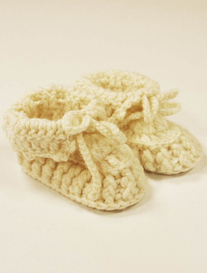Handknit Baby Booties with Bow