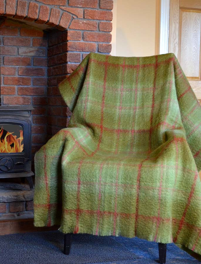 Mohair Plaid Large Throw - Green Pink