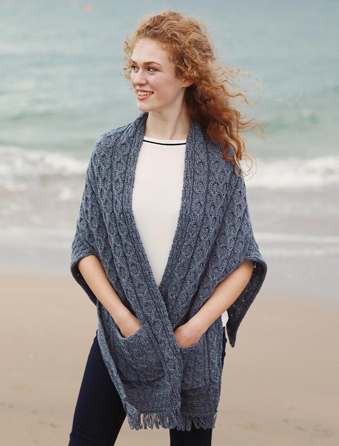 Aran Shawl Wrap with Pockets - Denim