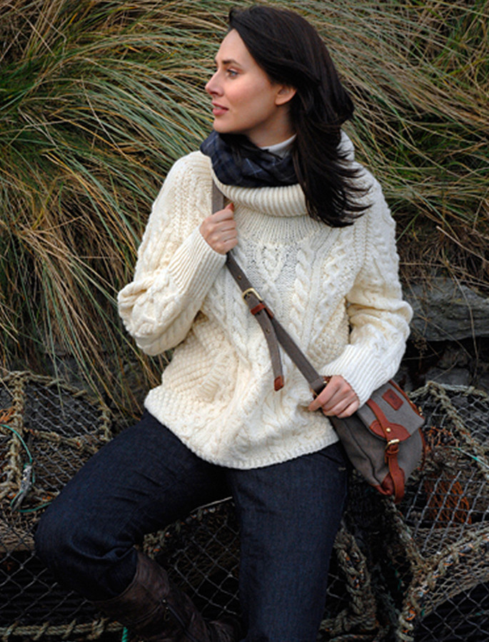 Cowl Neck Sweater with Pockets - White