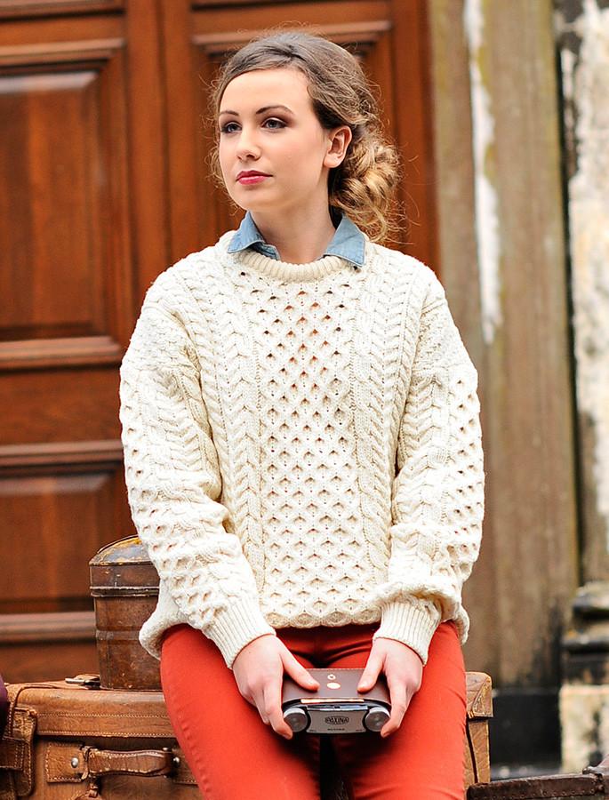 Women's Merino Aran Sweater - White