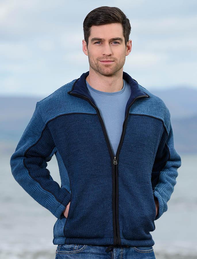 Men's Fleece Lined Wool Jacket -Blue
